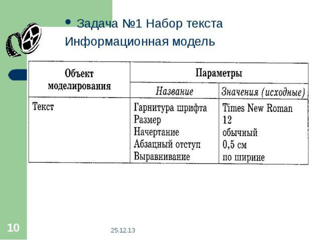 Задача №1 Набор текстаИнформационная модель