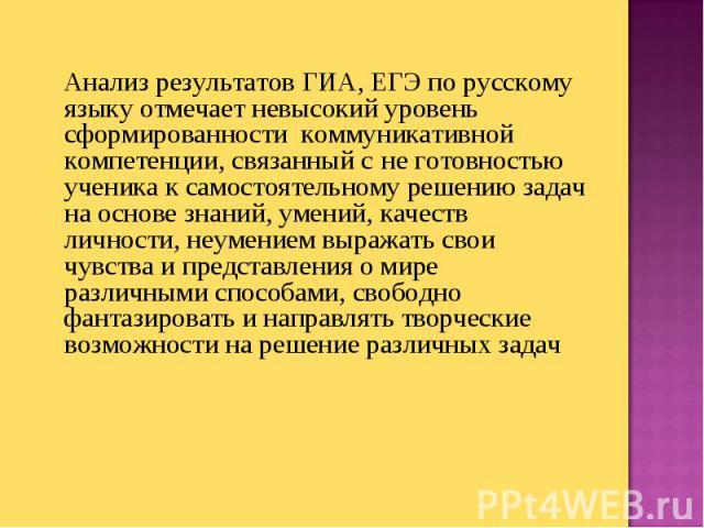 Анализ результатов ГИА, ЕГЭ по русскому языку отмечает невысокий уровень сформированности коммуникативной компетенции, связанный с не готовностью ученика к самостоятельному решению задач на основе знаний, умений, качеств личности, неумением выражать…