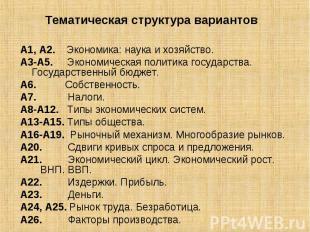 Тематическая структура вариантов А1, А2. Экономика: наука и хозяйство.А3-А5. Эко