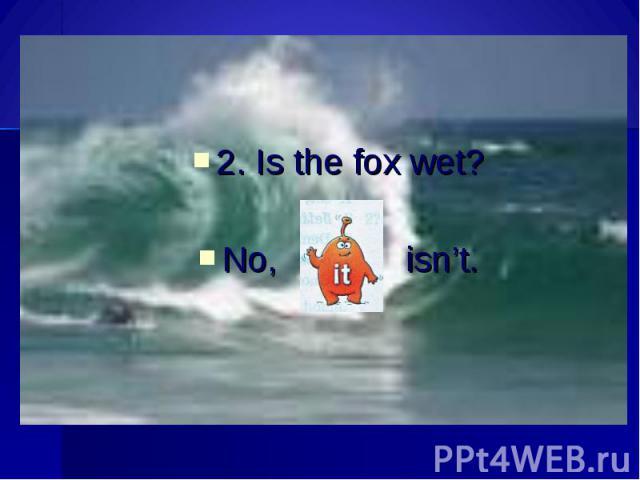 2. Is the fox wet?No, isn't.