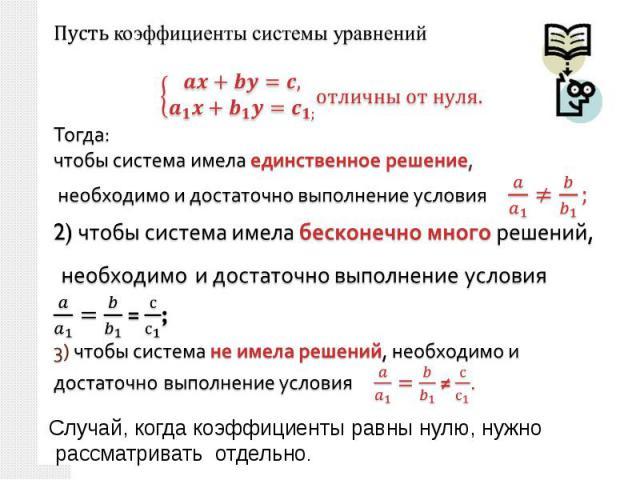 коэффициенты системы уравненийТогда: чтобы система имела единственное решение, необходимо и достаточно выполнение условия 2) чтобы система имела бесконечно много решений, необходимо и достаточно выполнение условия = ;3) чтобы система не имела решени…