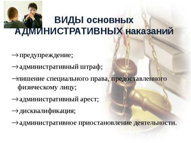 ВИДЫ основных АДМИНИСТРАТИВНЫХ наказаний предупреждение; административный штраф;лишение специального права, предоставленного физическому лицу; административный арест; дисквалификация; административное приостановление деятельности.