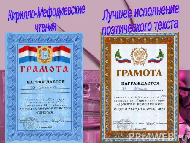 Кирилло-МефодиевскиечтенияЛучшее исполнениепоэтического текста