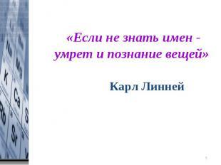 «Если не знать имен - умрет и познание вещей» Карл Линней