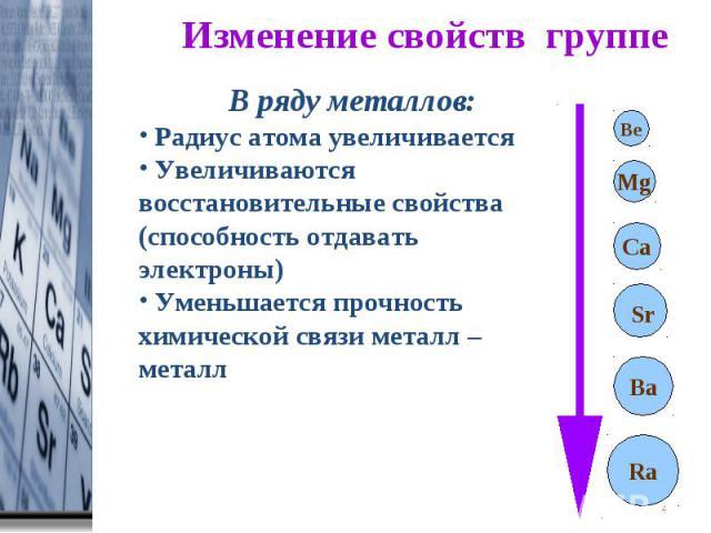 Изменение свойств группе В ряду металлов: Радиус атома увеличивается Увеличиваются восстановительные свойства (способность отдавать электроны) Уменьшается прочность химической связи металл – металл