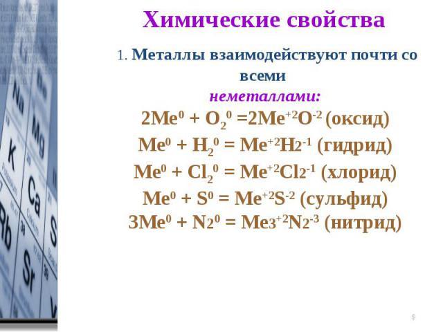 Химические свойства 1. Металлы взаимодействуют почти со всеми неметаллами:2Ме0 + О20 =2Ме+2О-2 (оксид)Ме0 + Н20 = Ме+2Н2-1 (гидрид)Ме0 + Cl20 = Mе+2Cl2-1 (хлорид)Ме0 + S0 = Mе+2S-2 (сульфид)3Ме0 + N20 = Mе3+2N2-3 (нитрид)