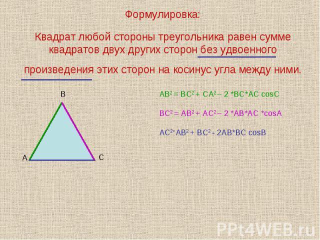 Формулировка:Квадрат любой стороны треугольника равен сумме квадратов двух других сторон без удвоенного произведения этих сторон на косинус угла между ними.