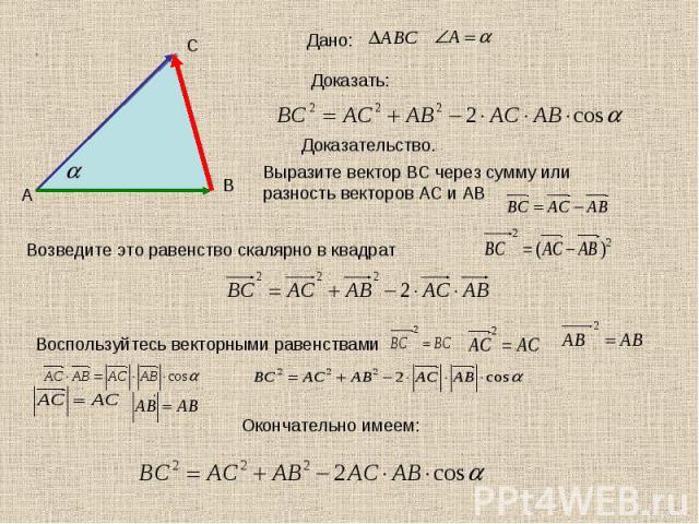 Дано: Доказать:Доказательство.Выразите вектор ВС через сумму или разность векторов АС и АВВозведите это равенство скалярно в квадратВоспользуйтесь векторными равенствами