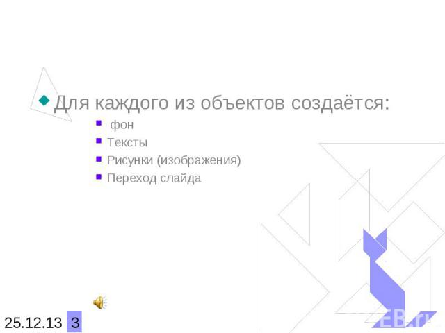 Для каждого из объектов создаётся: фонТекстыРисунки (изображения)Переход слайда