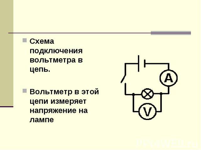 Схема подключения вольтметра в цепь.Вольтметр в этой цепи измеряет напряжение на лампе