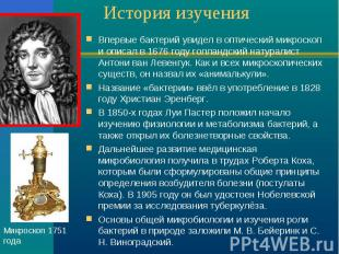 История изучения Впервые бактерий увидел в оптический микроскоп и описал в 1676