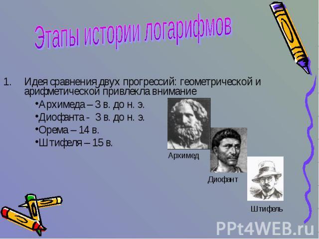 Этапы истории логарифмов Идея сравнения двух прогрессий: геометрической и арифметической привлекла вниманиеАрхимеда – 3 в. до н. э.Диофанта - 3 в. до н. э.Орема – 14 в. Штифеля – 15 в.