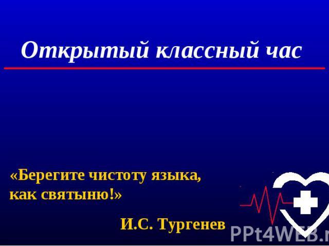 Открытый классный час «Берегите чистоту языка, как святыню!»И.С. Тургенев