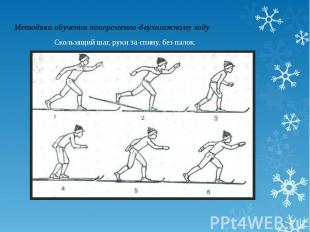 Методика обучения попеременно-двухшажному ходуСкользящий шаг, руки за спину, без