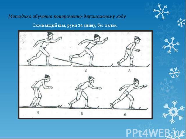 Методика обучения попеременно-двухшажному ходуСкользящий шаг, руки за спину, без палок.