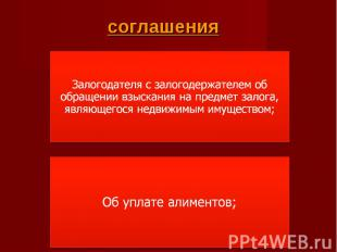 соглашения Залогодателя с залогодержателем об обращении взыскания на предмет зал