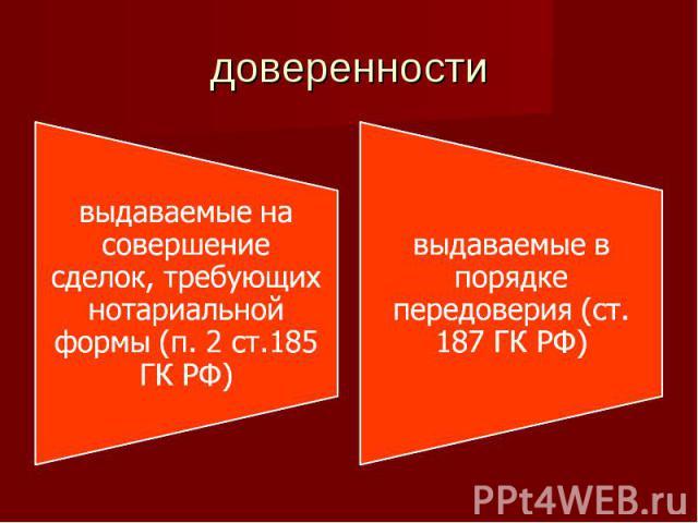 доверенности выдаваемые на совершение сделок, требующих нотариальной формы (п. 2 ст.185 ГК РФ)выдаваемые в порядке передоверия (ст. 187 ГК РФ)