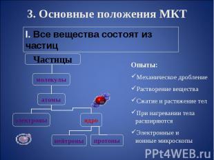 3. Основные положения МКТ Опыты:Механическое дробление Растворение веществаСжати