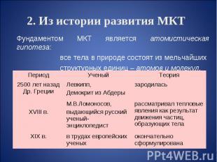 2. Из истории развития МКТ Фундаментом МКТ является атомистическая гипотеза: все