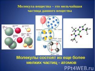 Молекула вещества – это мельчайшая частица данного вещества Молекулы состоят из