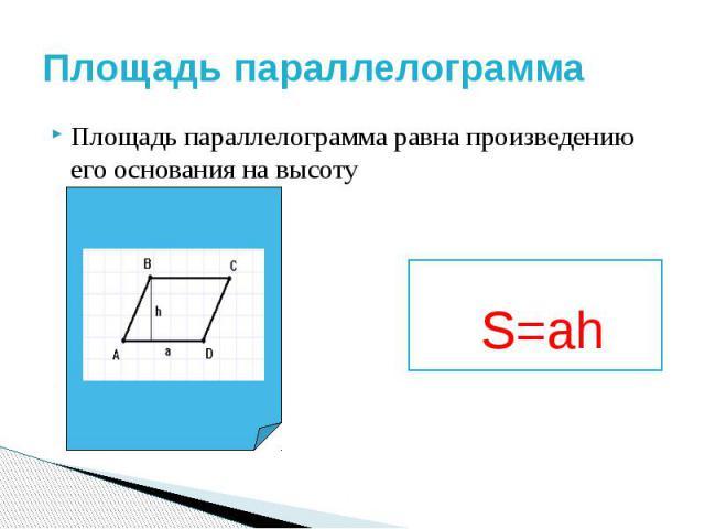 Площадь параллелограмма Площадь параллелограмма равна произведению его основания на высоту