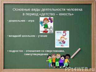 Основные виды деятельности человека в период «детство – юность» дошкольник – игр