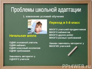 Проблемы школьной адаптации1. изменение условий обучения Переход в 5-й классМНОГ