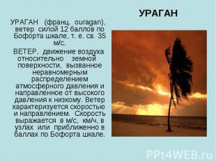 УРАГАН УРАГАН (франц. ouragan), ветер силой 12 баллов по Бофорта шкале, т. е. св