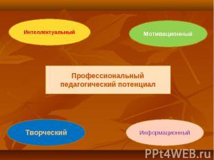 Профессиональный педагогический потенциалИнтеллектуальныйМотивационныйТворческий