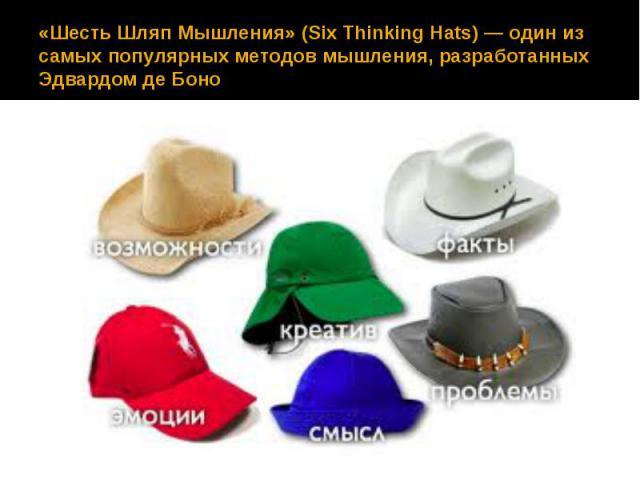 «Шесть Шляп Мышления» (Six Thinking Hats)— один из самых популярных методов мышления, разработанных Эдвардом де Боно