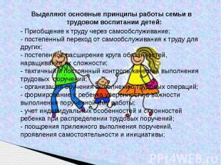 Выделяют основные принципы работы семьи в трудовом воспитании детей: - Приобщени