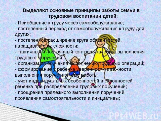 Выделяют основные принципы работы семьи в трудовом воспитании детей: - Приобщение к труду через самообслуживание;- постепенный переход от самообслуживания к труду для других;- постепенное расширение круга обязанностей, наращивание их сложности;- так…