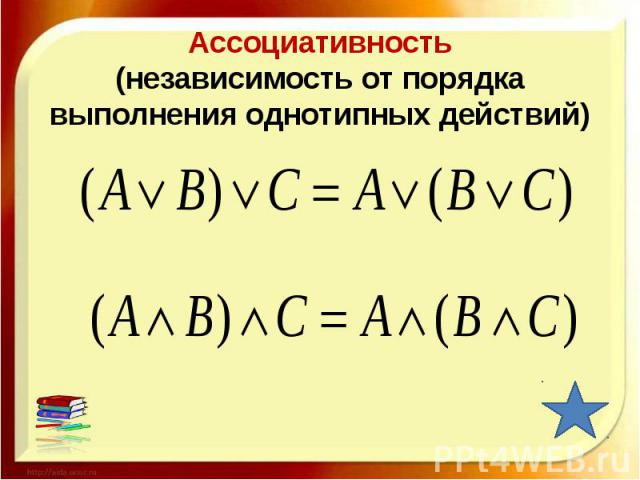 Ассоциативность(независимость от порядка выполнения однотипных действий)