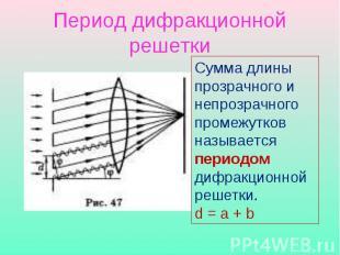 Период дифракционной решетки Сумма длины прозрачного и непрозрачного промежутков