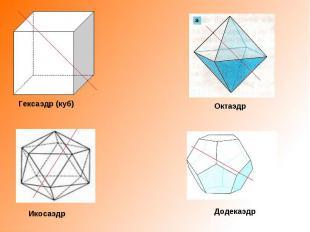 Гексаэдр (куб) Октаэдр Икосаэдр Додекаэдр