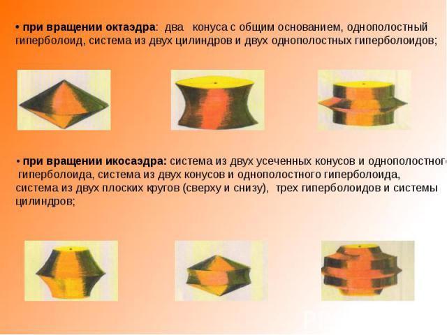 • при вращении октаэдра: два конуса с общим основанием, однополостный гиперболоид, система из двух цилиндров и двух однополостных гиперболоидов;• при вращении икосаэдра: система из двух усеченных конусов и однополостного гиперболоида, система из дву…