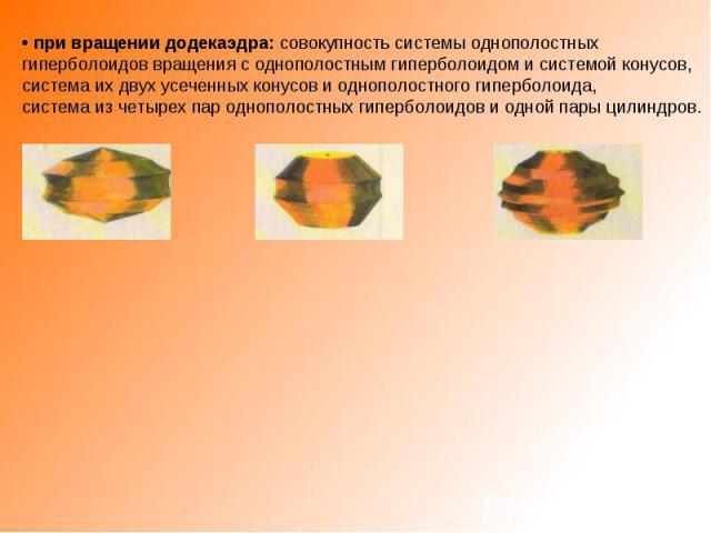 • при вращении додекаэдра: совокупность системы однополостных гиперболоидов вращения с однополостным гиперболоидом и системой конусов, система их двух усеченных конусов и однополостного гиперболоида, система из четырех пар однополостных гиперболоидо…