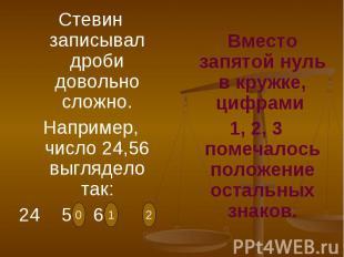 Стевин записывал дроби довольно сложно.Например, число 24,56 выглядело так:24 5