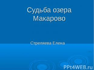 Судьба озера Макарово Стреляева Елена