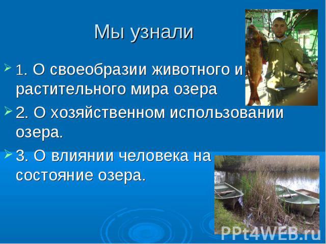 Мы узнали 1. О своеобразии животного и растительного мира озера2. О хозяйственном использовании озера.3. О влиянии человека на состояние озера.
