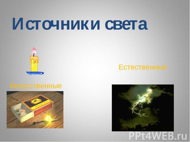 Источники светаЕстественные Искусственные