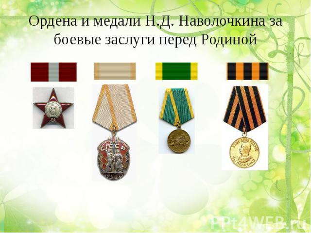 Ордена и медали Н.Д. Наволочкина за боевые заслуги перед Родиной