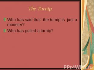 The Turnip. Who has said that the turnip is just a monster?Who has pulled a turn