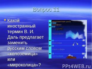 Вопрос 11 Какой иностранный термин В. И. Даль предлагает заменить русским словом