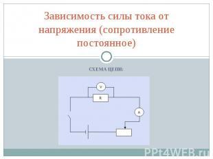 Зависимость силы тока от напряжения (сопротивление постоянное)