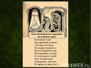Как отреагировала чародейкана решение царя? И незваная стоит Над царевной и ворч