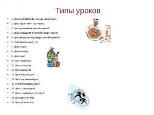 Типы уроков 1. Урок ознакомления с новым материалом.2. Урок закрепления изученно
