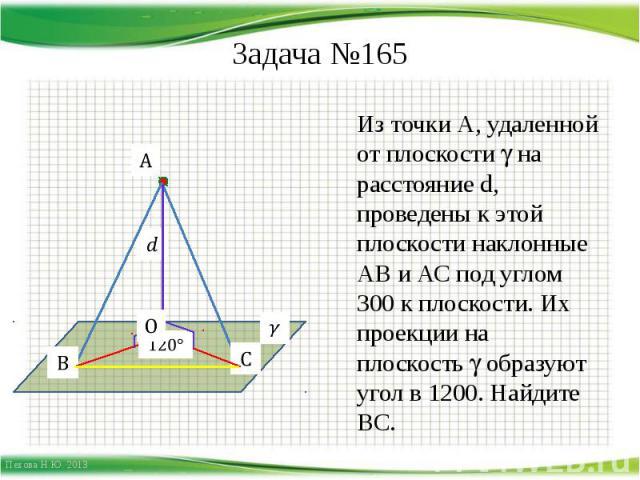 Задача №165 Из точки А, удаленной от плоскости на расстояние d, проведены к этой плоскости наклонные АВ и АС под углом 300 к плоскости. Их проекции на плоскость образуют угол в 1200. Найдите ВС.