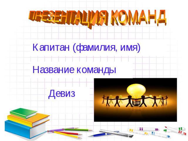 ПРЕЗЕНТАЦИЯ КОМАНД Капитан (фамилия, имя)Название командыДевиз