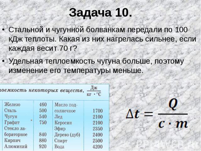 Задача 10. Стальной и чугунной болванкам передали по 100 кДж теплоты. Какая из них нагрелась сильнее, если каждая весит 70 г?Удельная теплоемкость чугуна больше, поэтому изменение его температуры меньше.